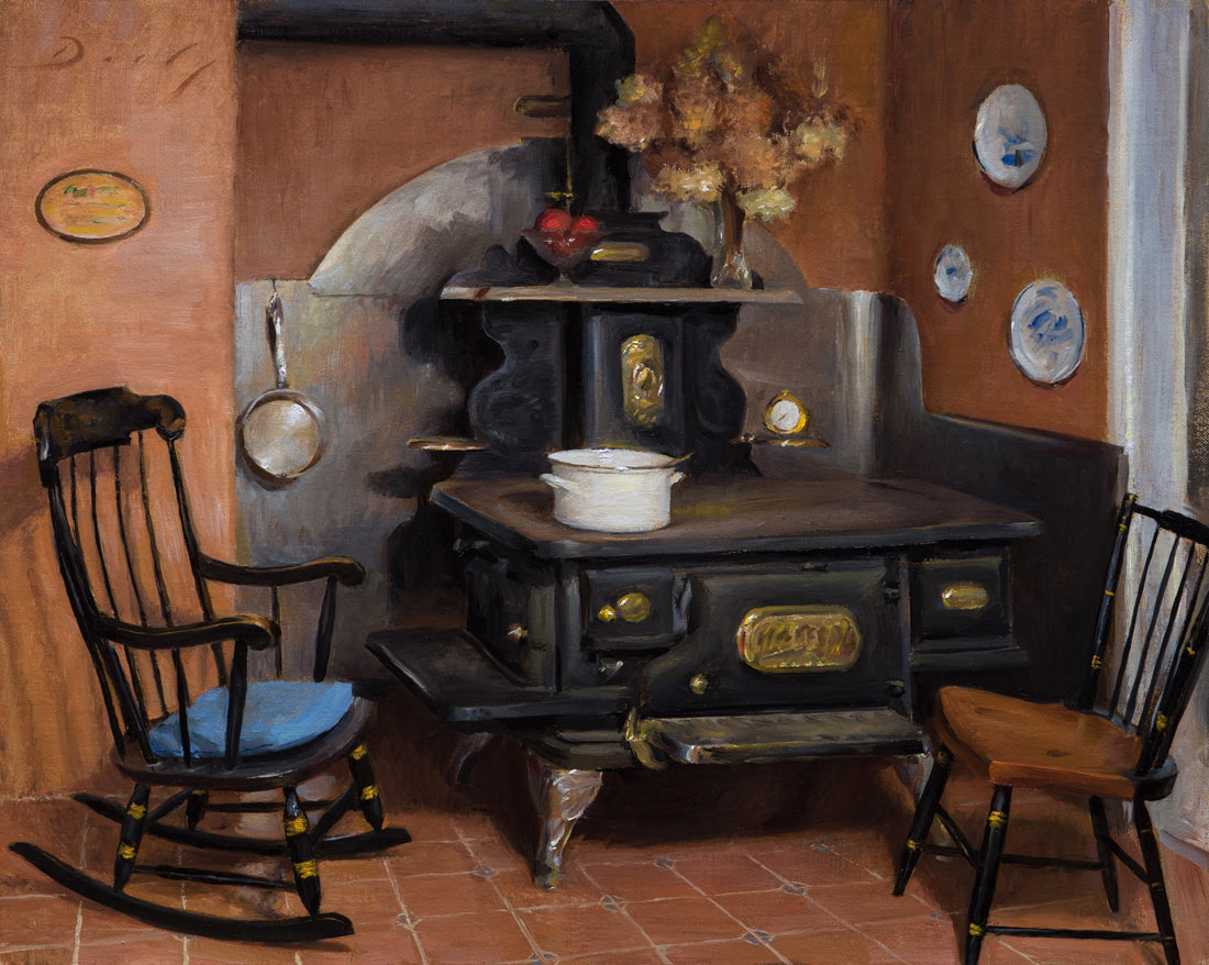 """""""Interior with Antique Wood Stove"""" - Joseph Q. Daily - Interior With Antique Wood Stove"""