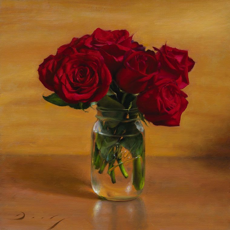 Still Life with Roses and Mason Jar